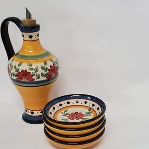 Pier 1 Alexandria oil jar and plates hand painted